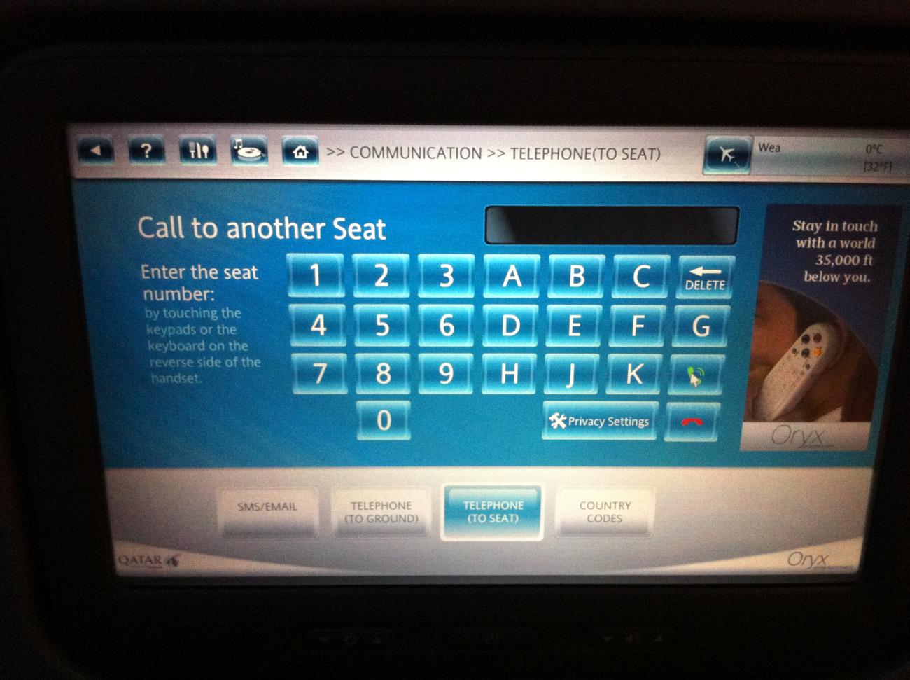 Система развлечений в Боинге-777-300 Катарских авиалиний