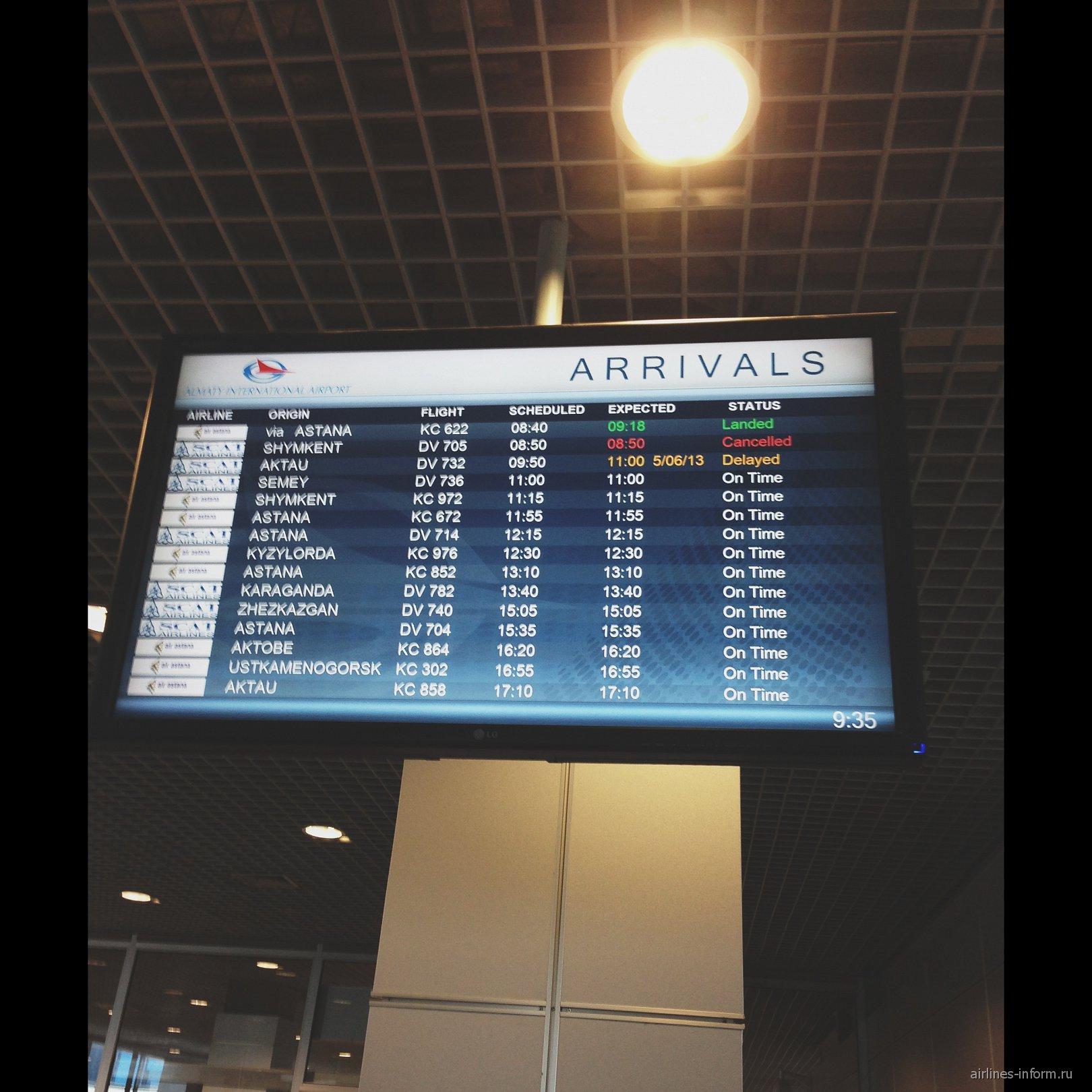 Табло рейсов в аэропорту Алматы