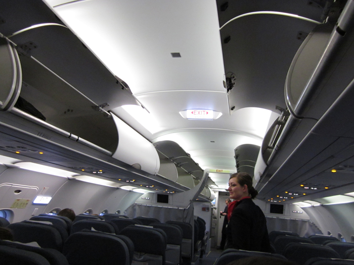 Passenger cabin of Airbus A320 of CSA Czech Airilines