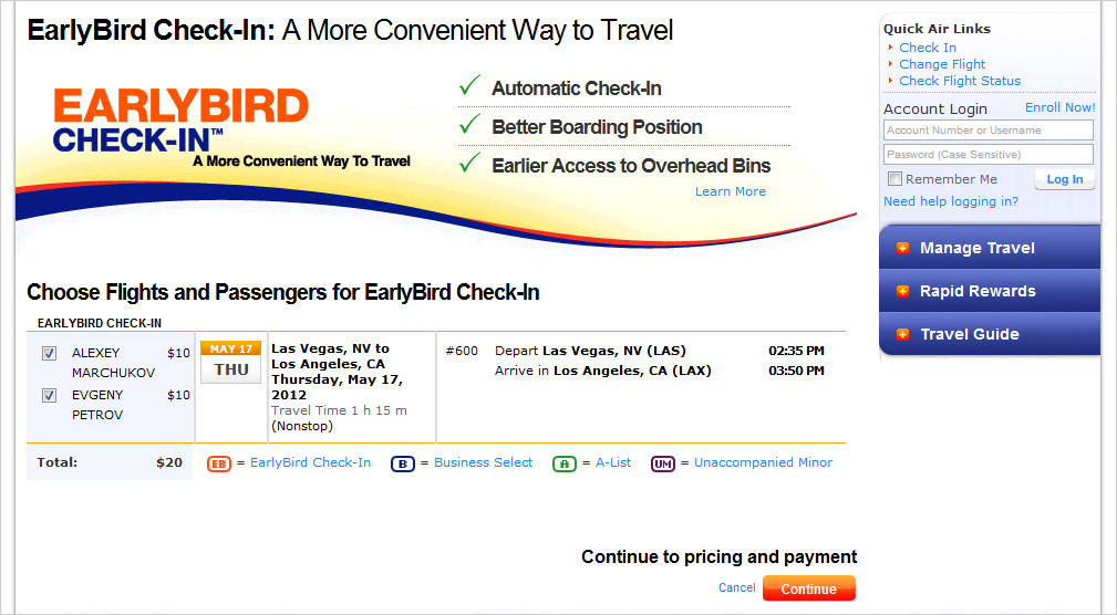 Услуги Early Bird Check-In авиакомпании Southwest Airlines