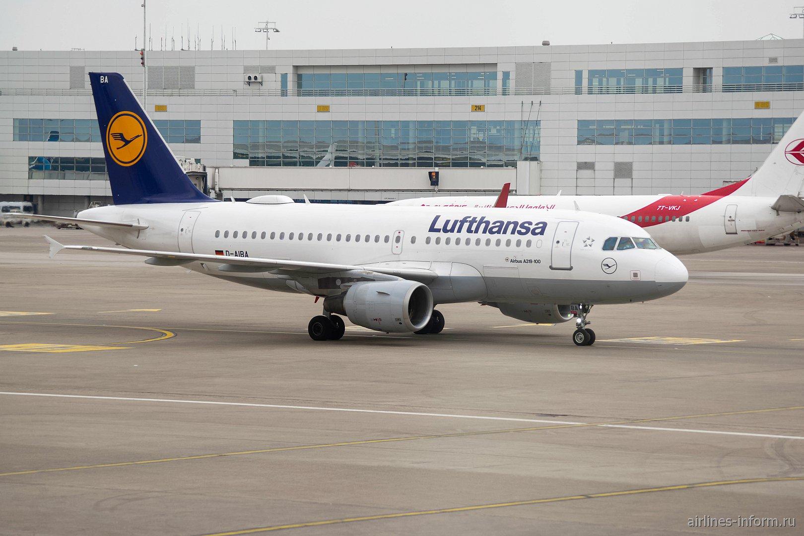 Airbus A319 D-AIBA авиакомпании Lufthansa в аэропорту Брюсселя