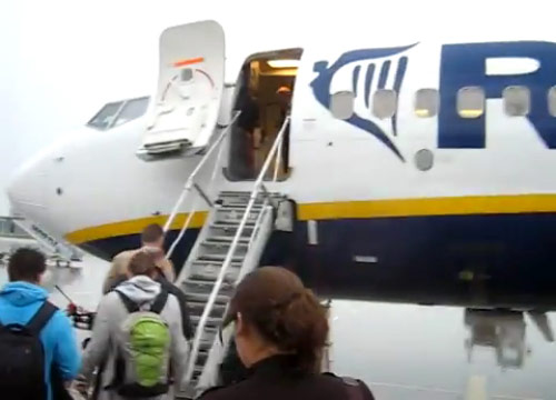 Boarding on Ryanair flight