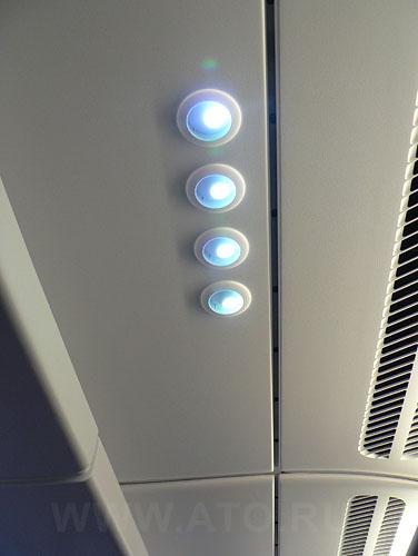 Passenger cabin of Lufthansa Airbus A380