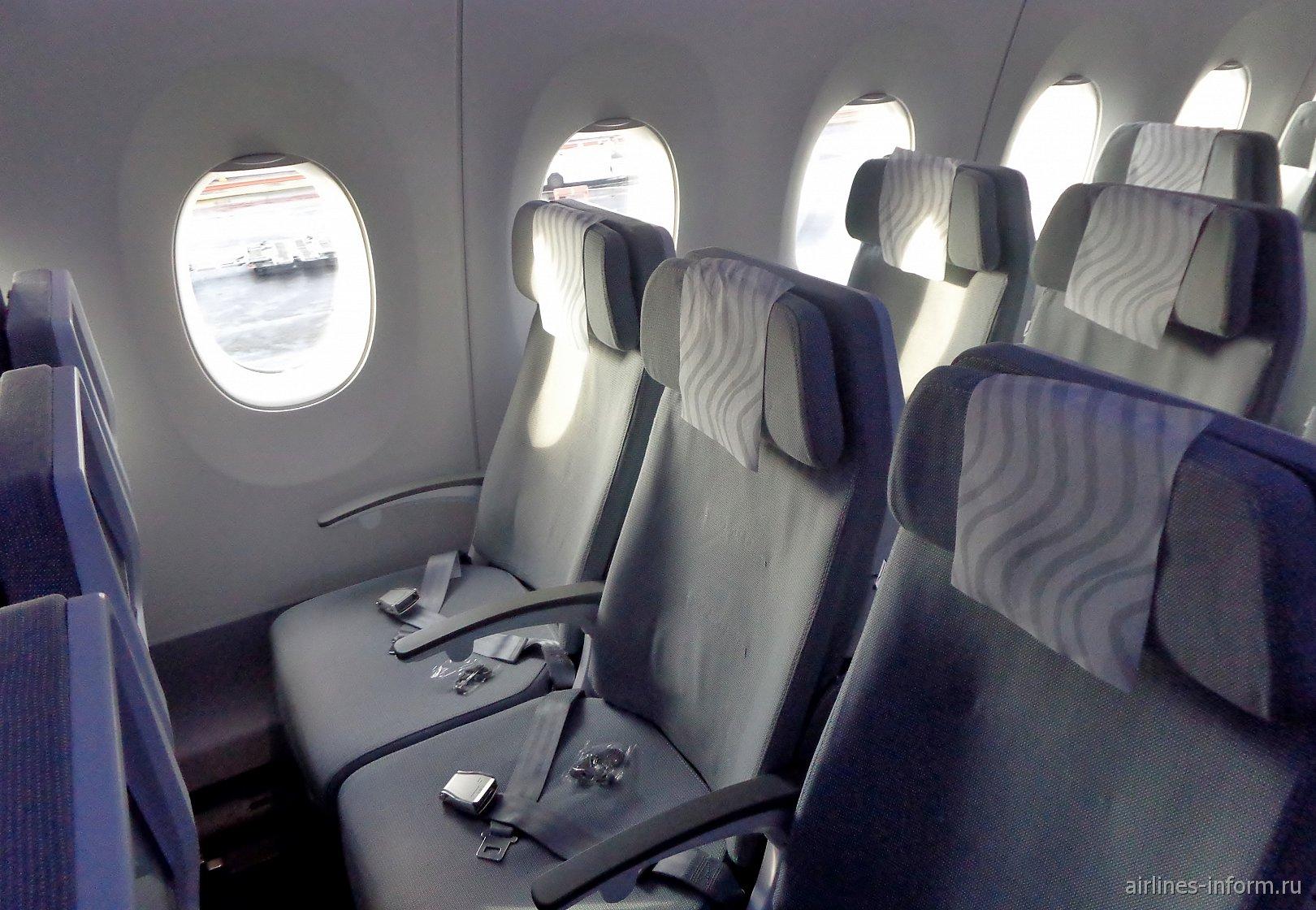Место пассажиров эконом-класса в самолете Airbus A350-900 авиакомпании Finnair