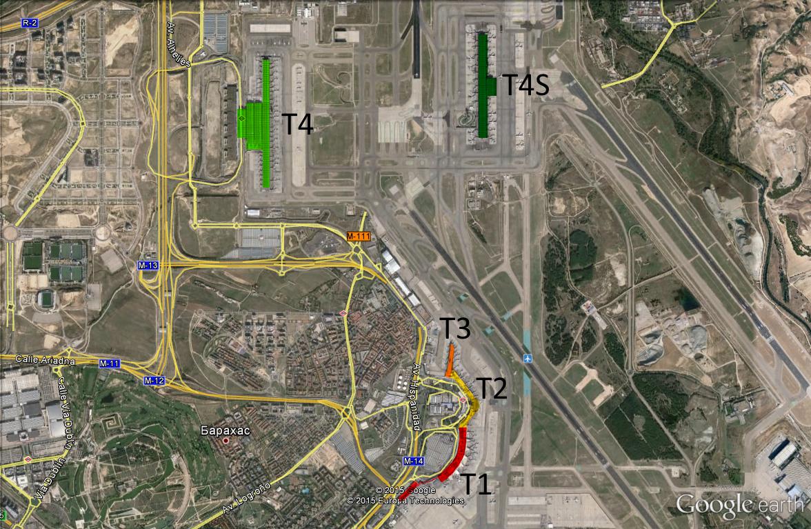 Схема аэропорта Барахас из Google Earth