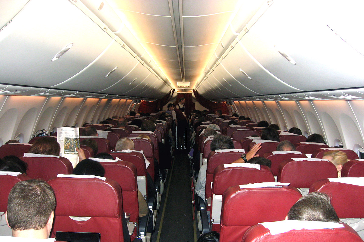 Passenger cabin of UTair Boeing 737-800