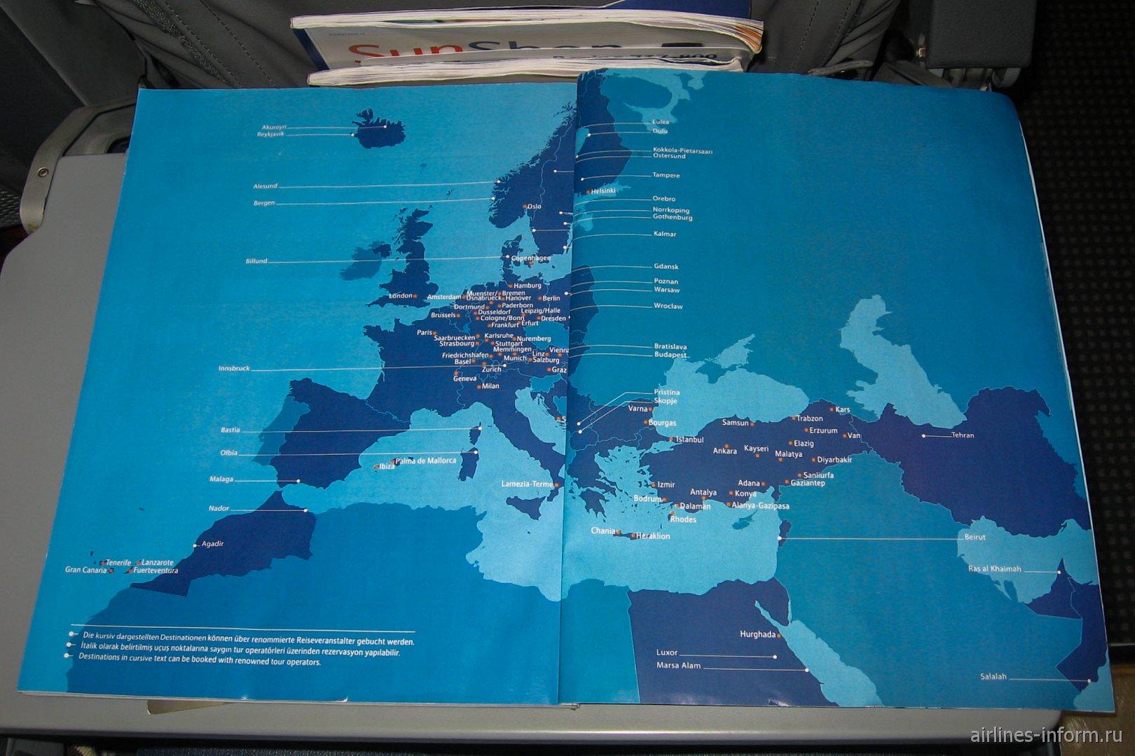 Карт полетов авиакомпании SunExpress