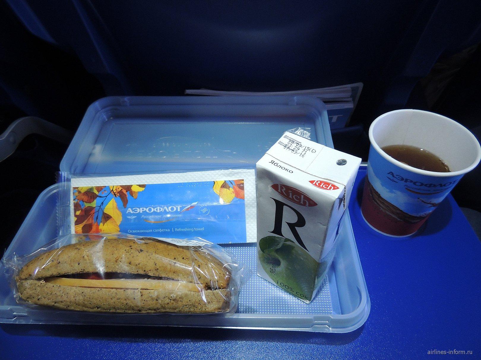 Бортовое питание на рейсе Аэрофлота Мурманск-Москва