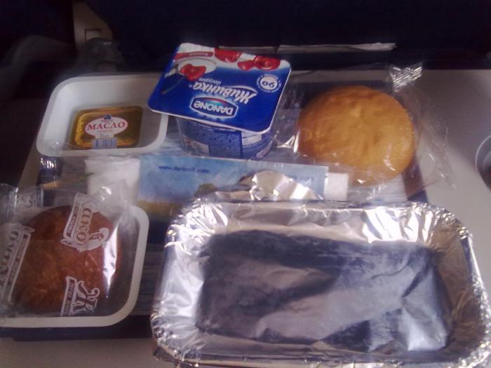 Питание на рейсе Новосибирск-Киев авиакомпании АэроСвит