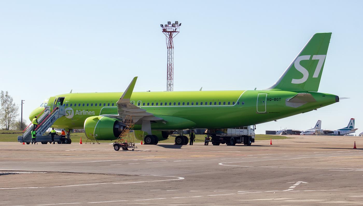 Airbus A320neo VQ-BGT авиакомпании S7 Airlines в аэропорту Иркутска