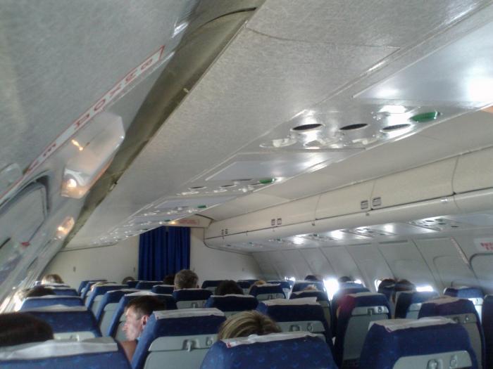 В салоне самолета Ту-154 авиакомпании Континент