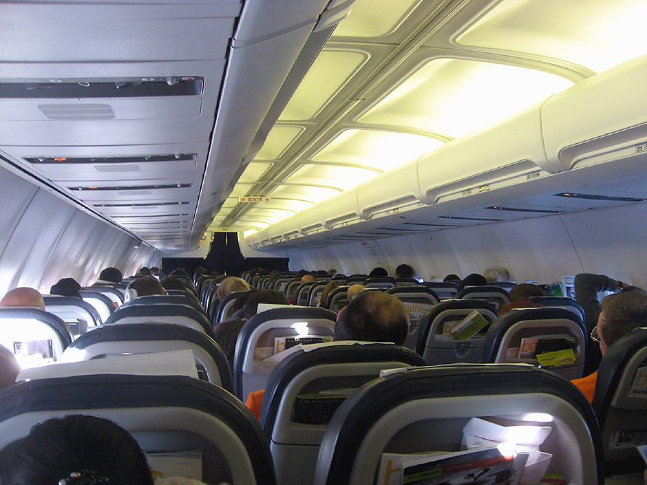 Passenger cabin of Boeng 737-300 of airBaltic airline
