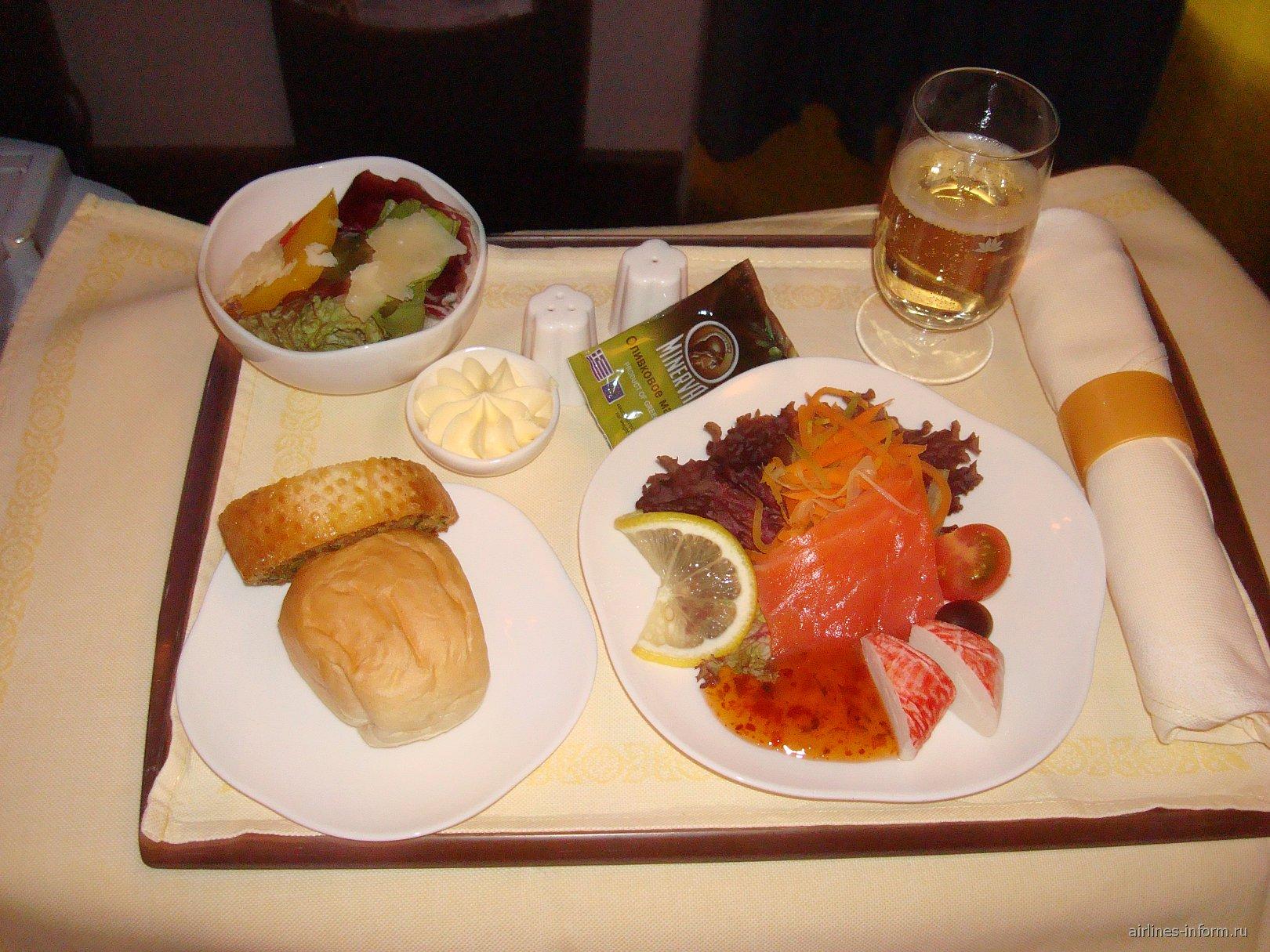 Питание бизнес-класса на рейсе авиакомпании Вьетнамские авиалинии Москва-Хошимин