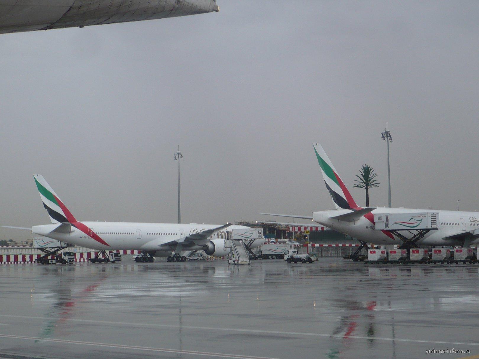 Самолеты Emirates в аэропорту Дубай