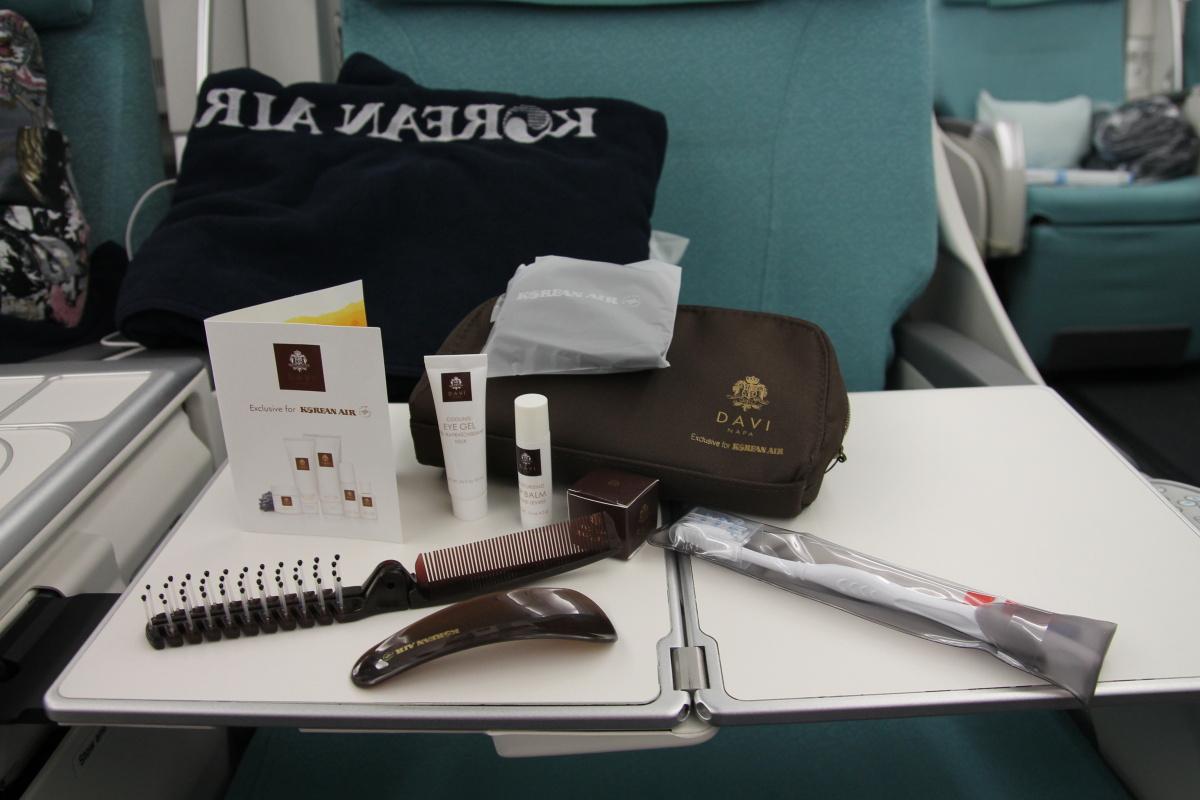 Набор пассажира бизнес-класса на дальнемагистральном рейсе авиакомпании Korean Air
