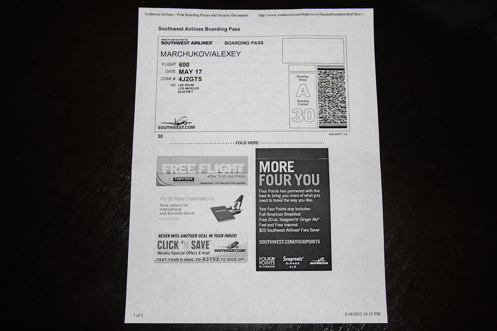 Southwest boarding pass