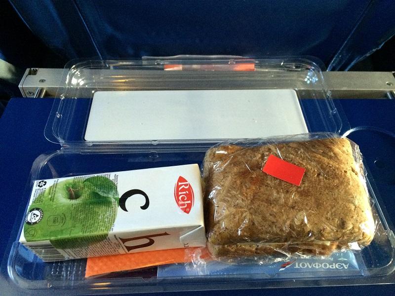 Питание на рейсе Аэрофлота Москва-Санкт-Петербург