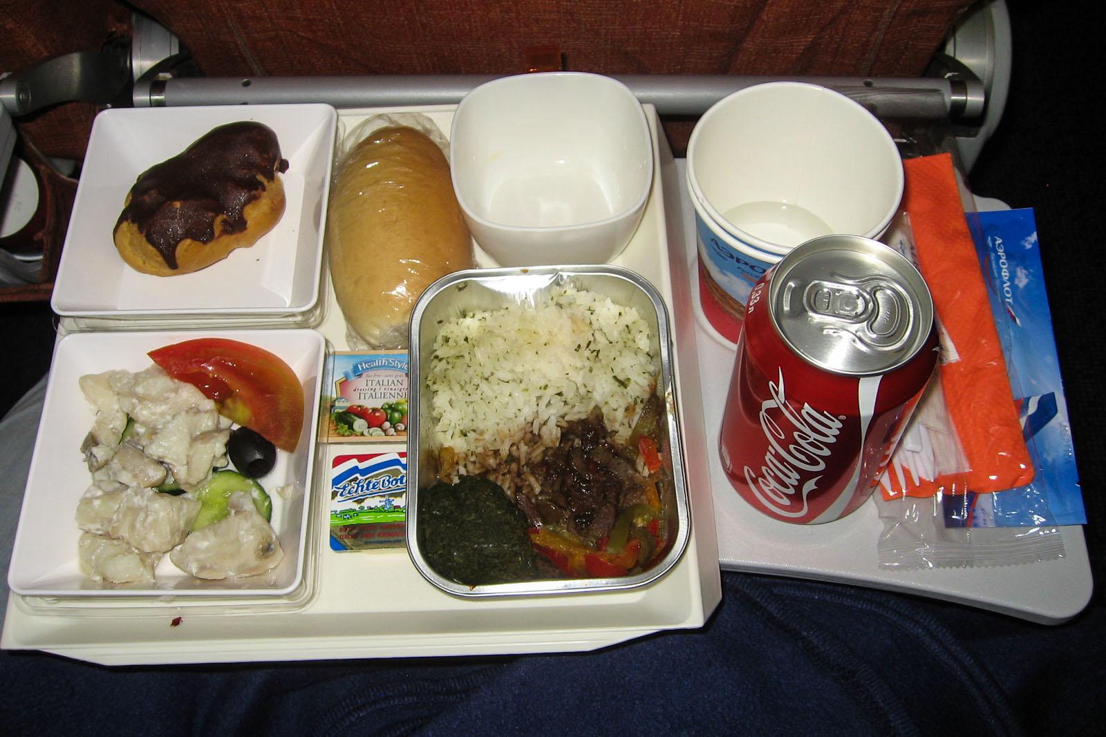 Бортовое питание на рейсе Аэрофлота Гавана-Москва