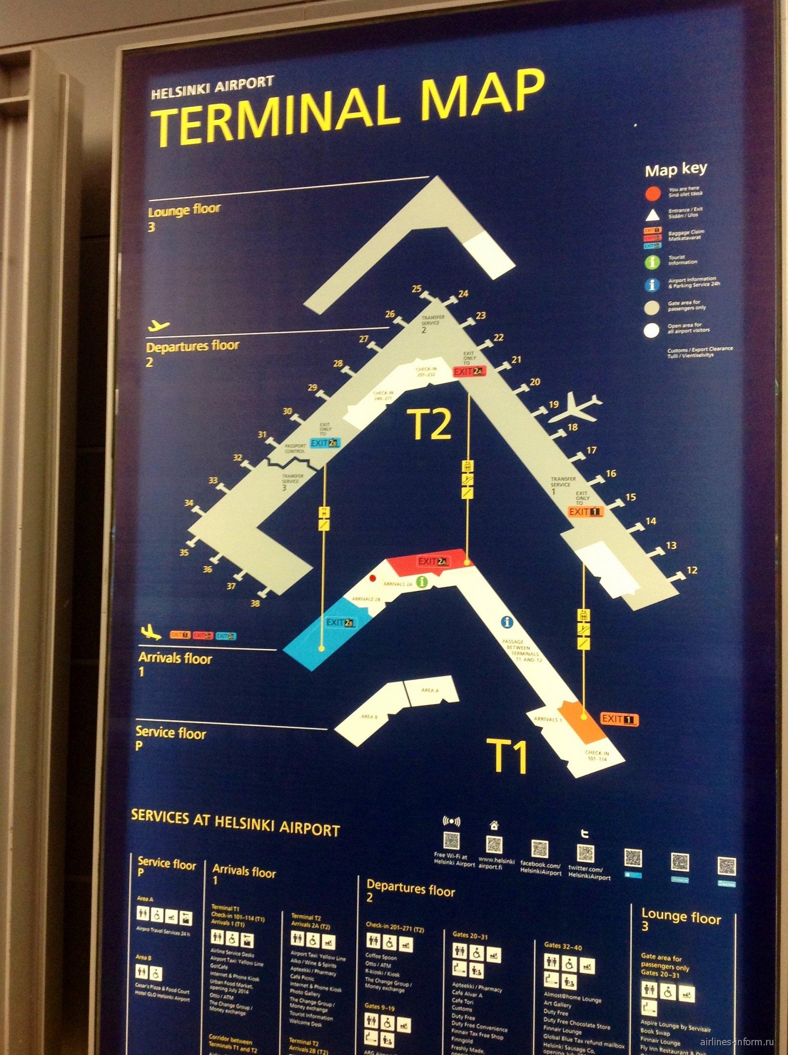 Схема аэропорта Хельсинки