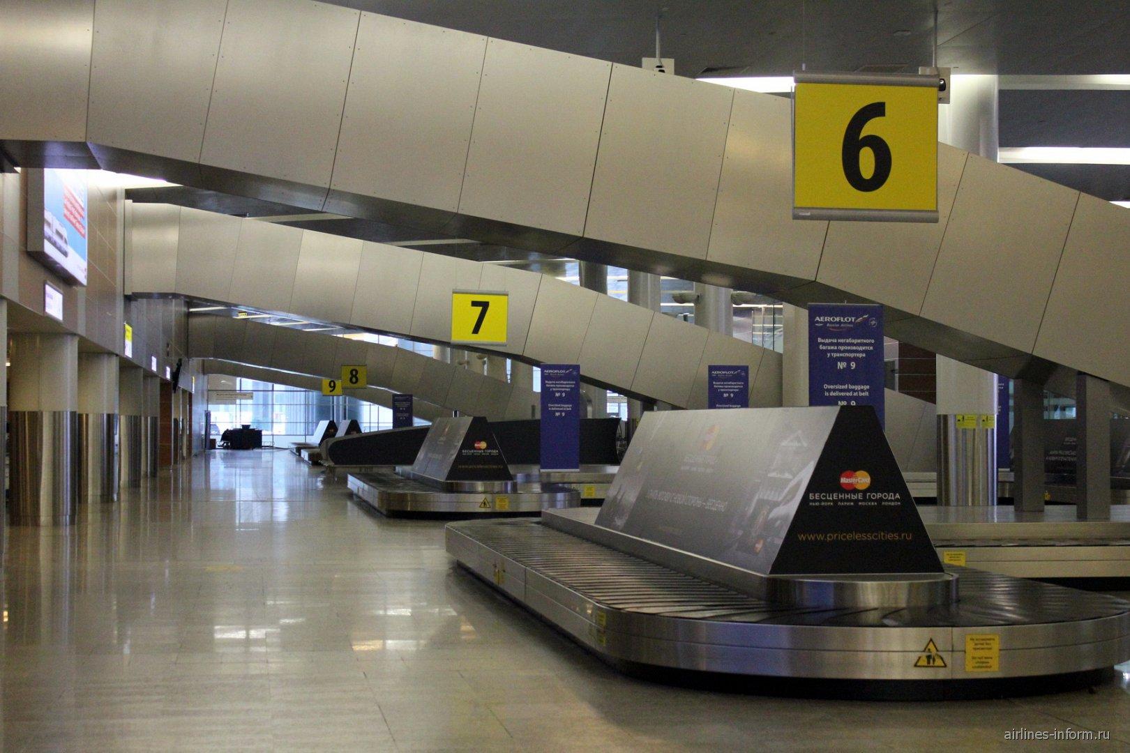 Зал выдачи багажа в терминале D аэропорта Москва Шереметьево