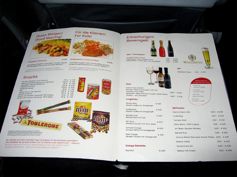 Бортовое меню авиакомпании Air Berlin