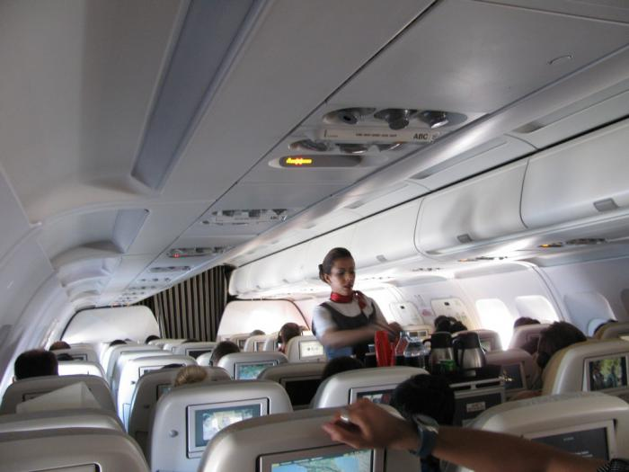 Passenger cabin of Airbus A320 Etihad Airways
