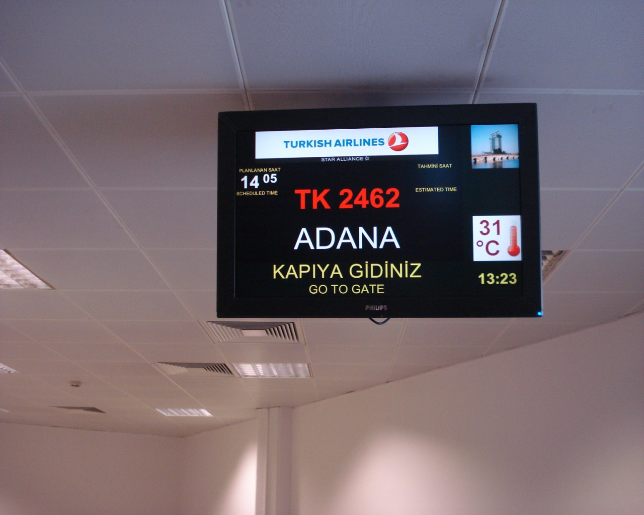 Посадка на рейс Стамбул-Адана Турецких авиалиний