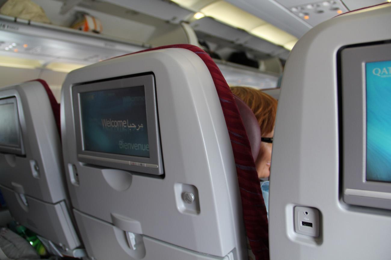 Салон самолета Airbus A320 Катарских авиалиний