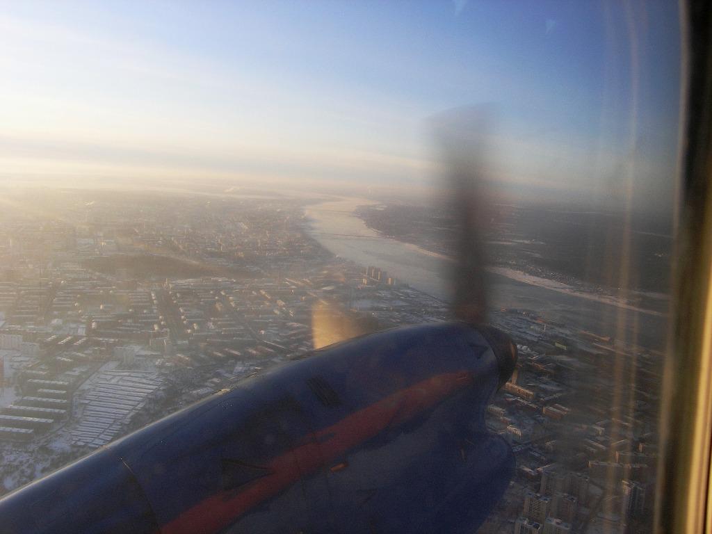 Заход на посадку над городом Пермь в аэропорт Большое Савино