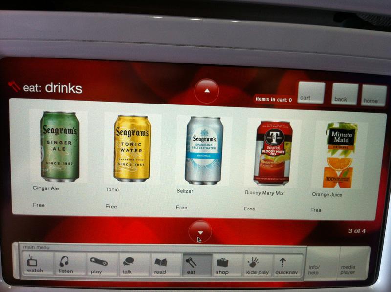 Система развлечений авиакомпании Virgin America