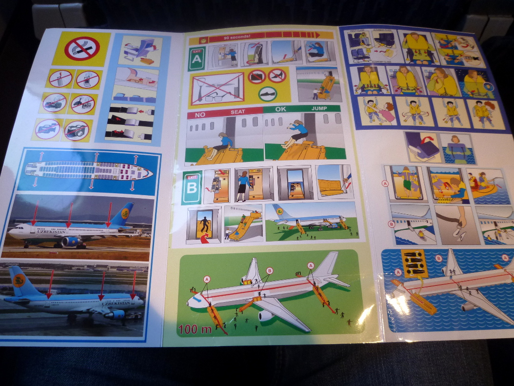 Safety procedures card of Uzbekistan airways