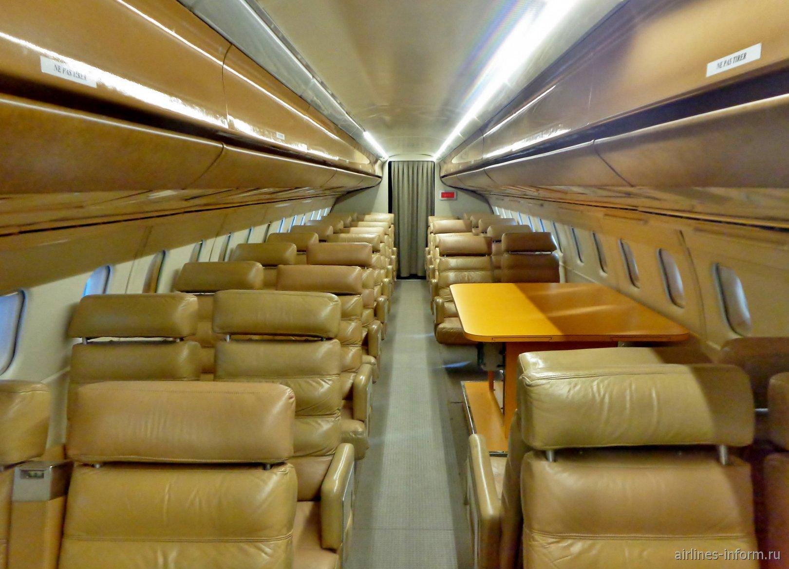 Пассажирский салон в самолете Concorde