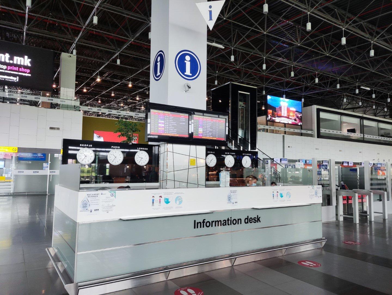 Информационная стойка в аэропорту Скопье