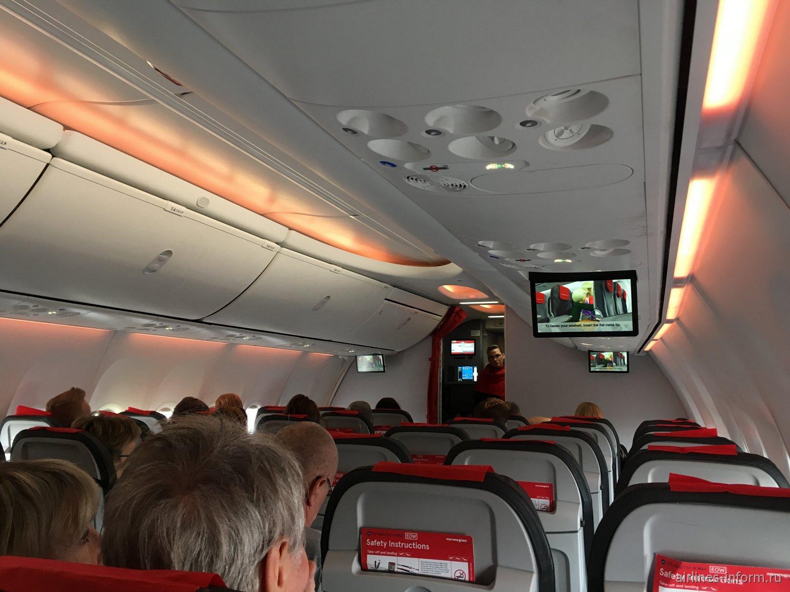 В салоне самолета Boeing 737 MAX 8 авиакомпании Norwegian