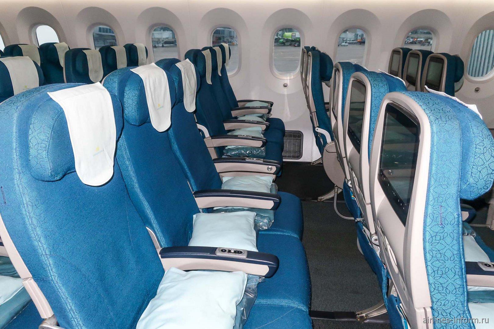 Места пассажиров экономического класса в Боинге-787-9 Вьетнамских авиалиний
