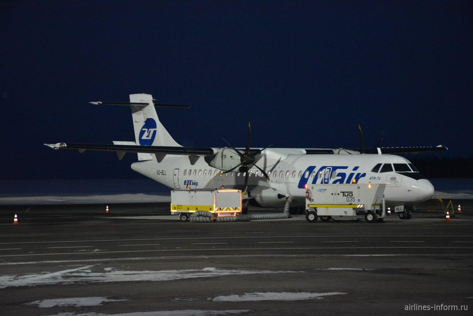 Самолет ATR-72 VQ-BLL авиакомпании Utair в аэропорту Калуги