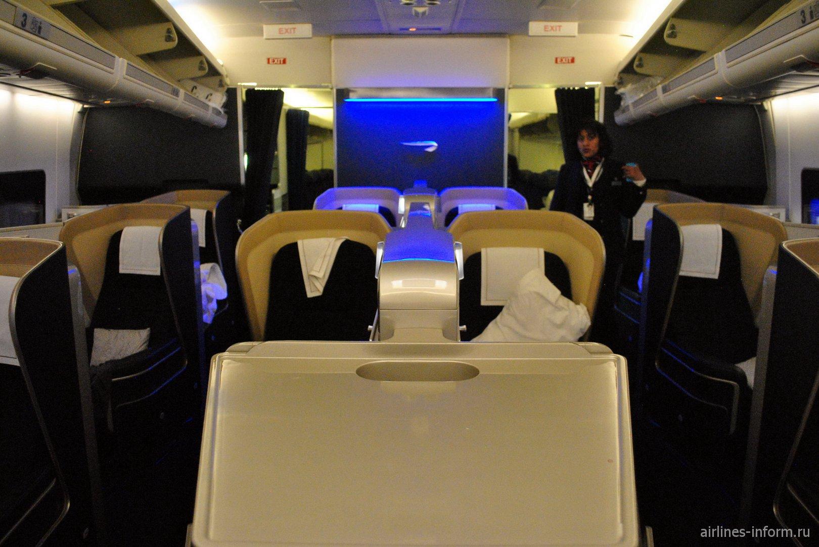 Салон Первого класса в Боинге-747-400 Британских авиалиний
