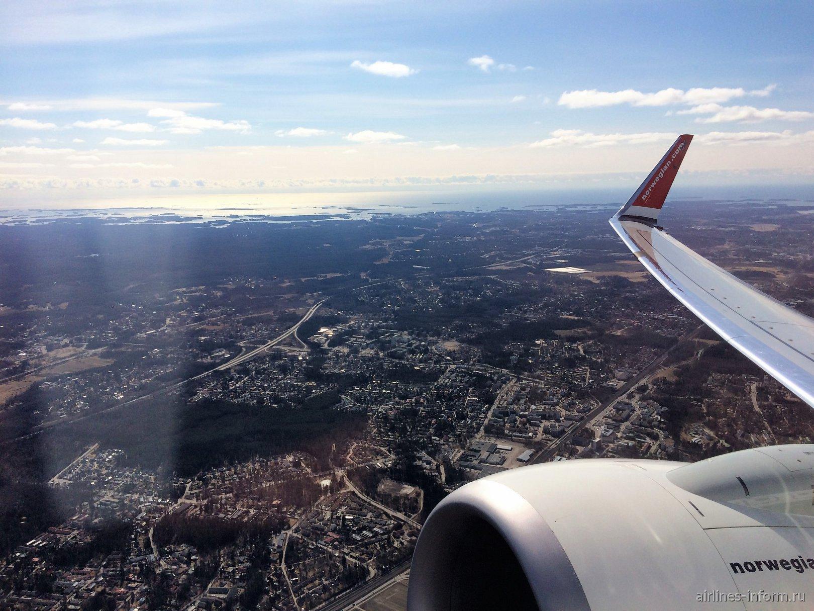 Окрестности Хельсинки при взлете из аэропорта Вантаа