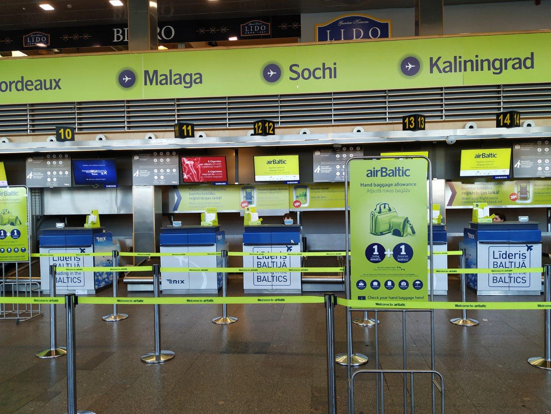 Стойки регистрации авиакомпании airBaltic в аэропорту Рига