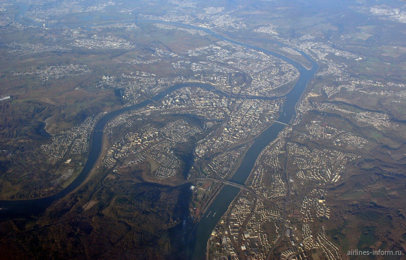 Город Кобленц на реке Рейн в Германии