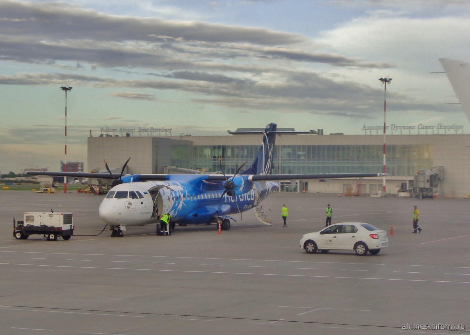 Самолет ATR 72 авиакомпании Nordica в аэропорту Пулково