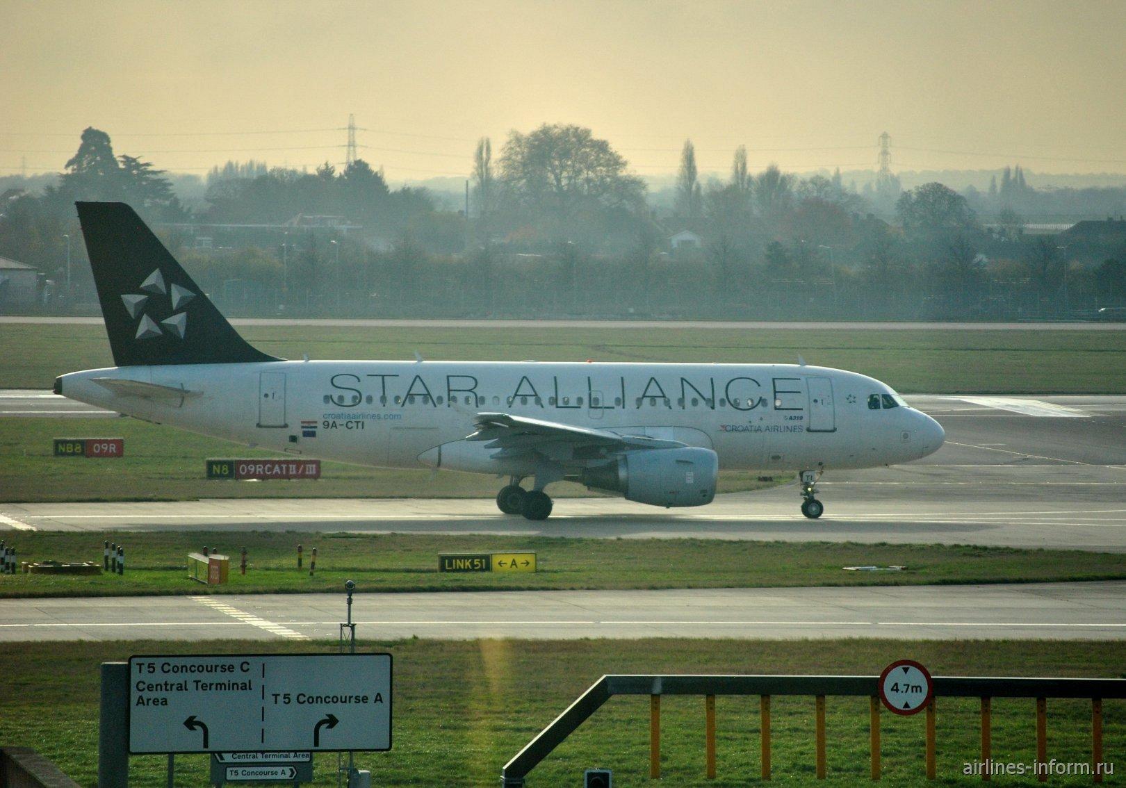Airbus A319 9A-CTI авиакомпании Croatia Airlines в аэропорту Лондон Хитроу