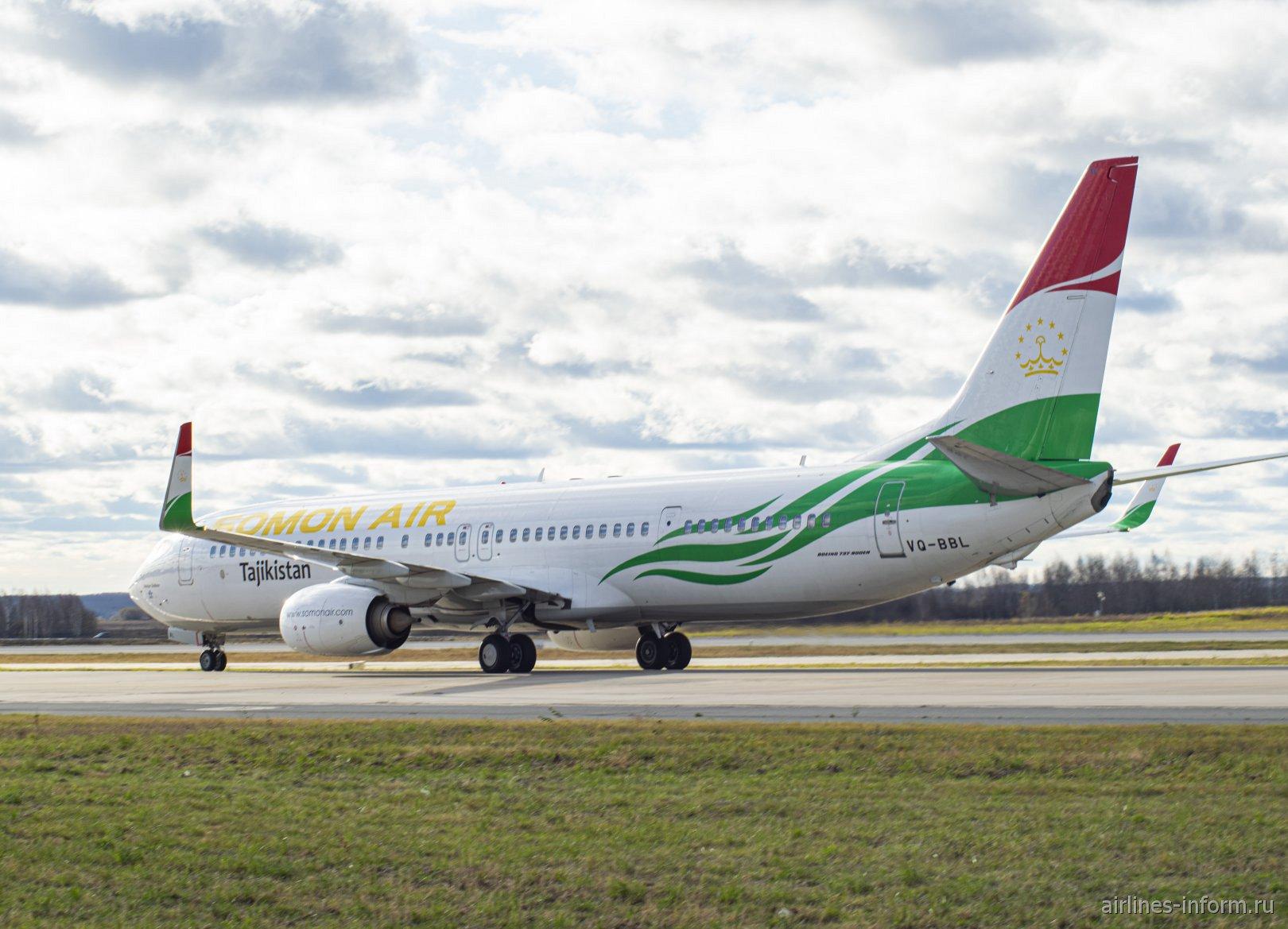 Боинг-737-900 VQ-BBL авиакомпании Somon Air в аэропорту Домодедово