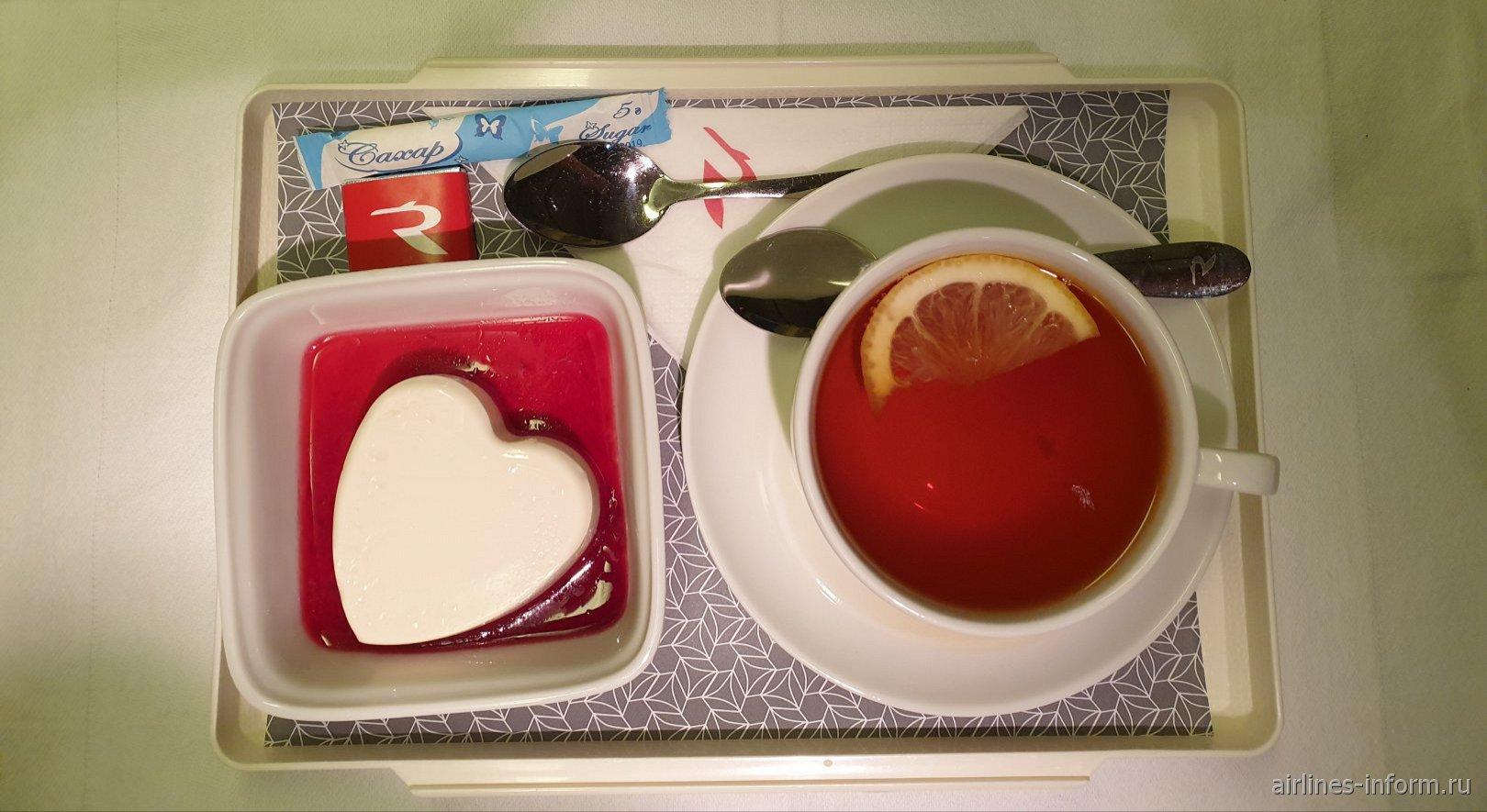 Десерт в бизнес-классе авиакомпании