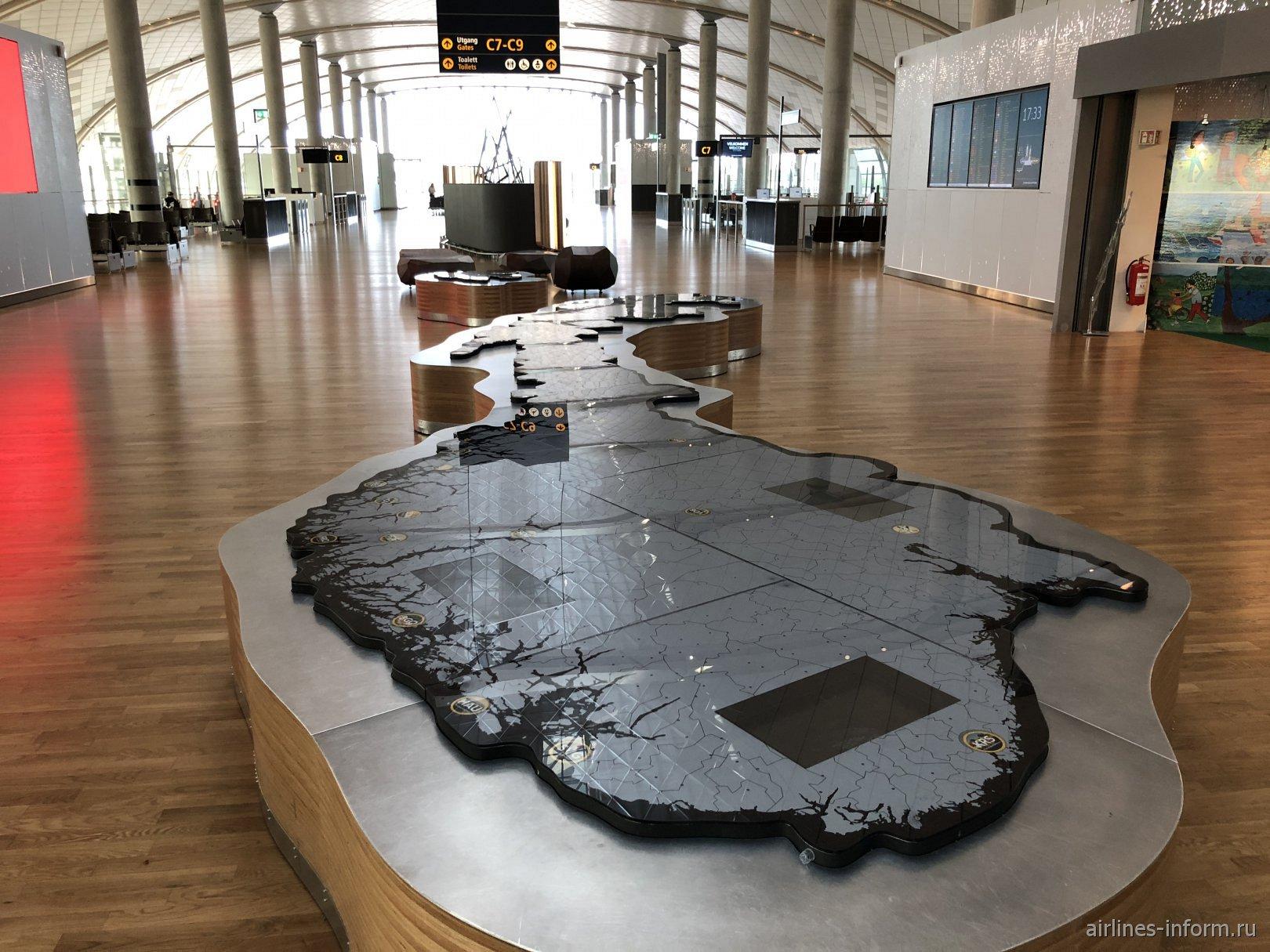 Рельефная карта Норвегии в зоне С аэропорта Осло Гардермуэн