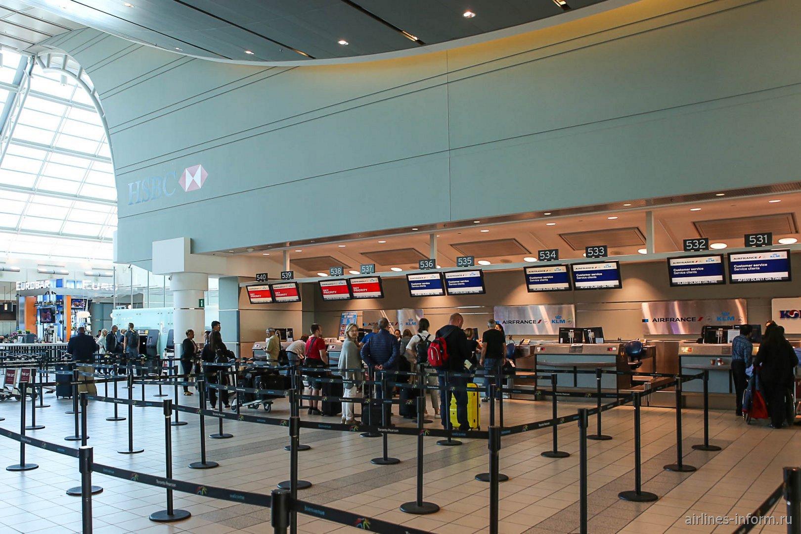 Зона регистрации авиакомпаний Air France и KLM в терминале 3 аэропорта Торонто Пирсон