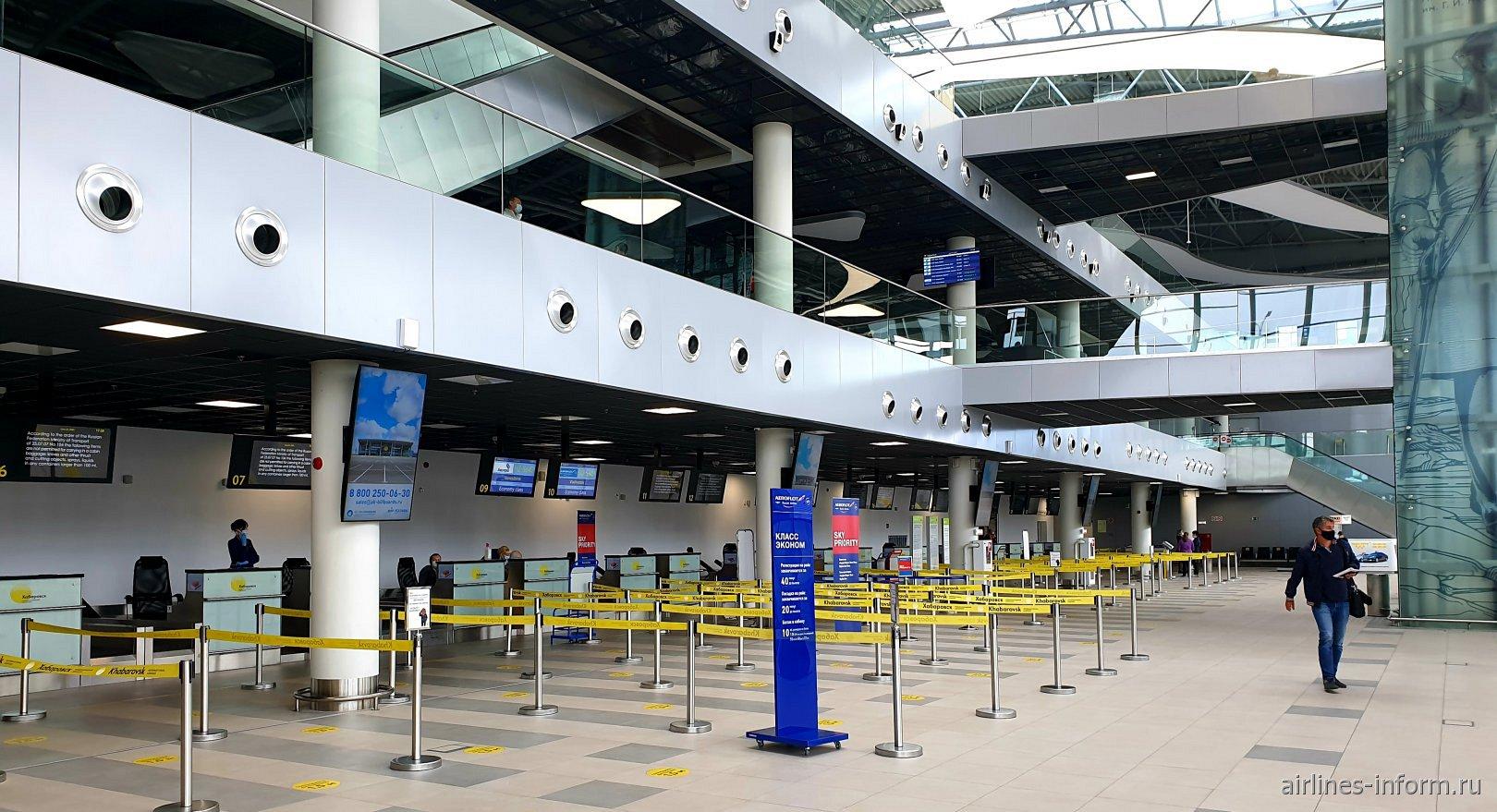 Зона регистрации в новом терминале аэропорта Хабаровск Новый