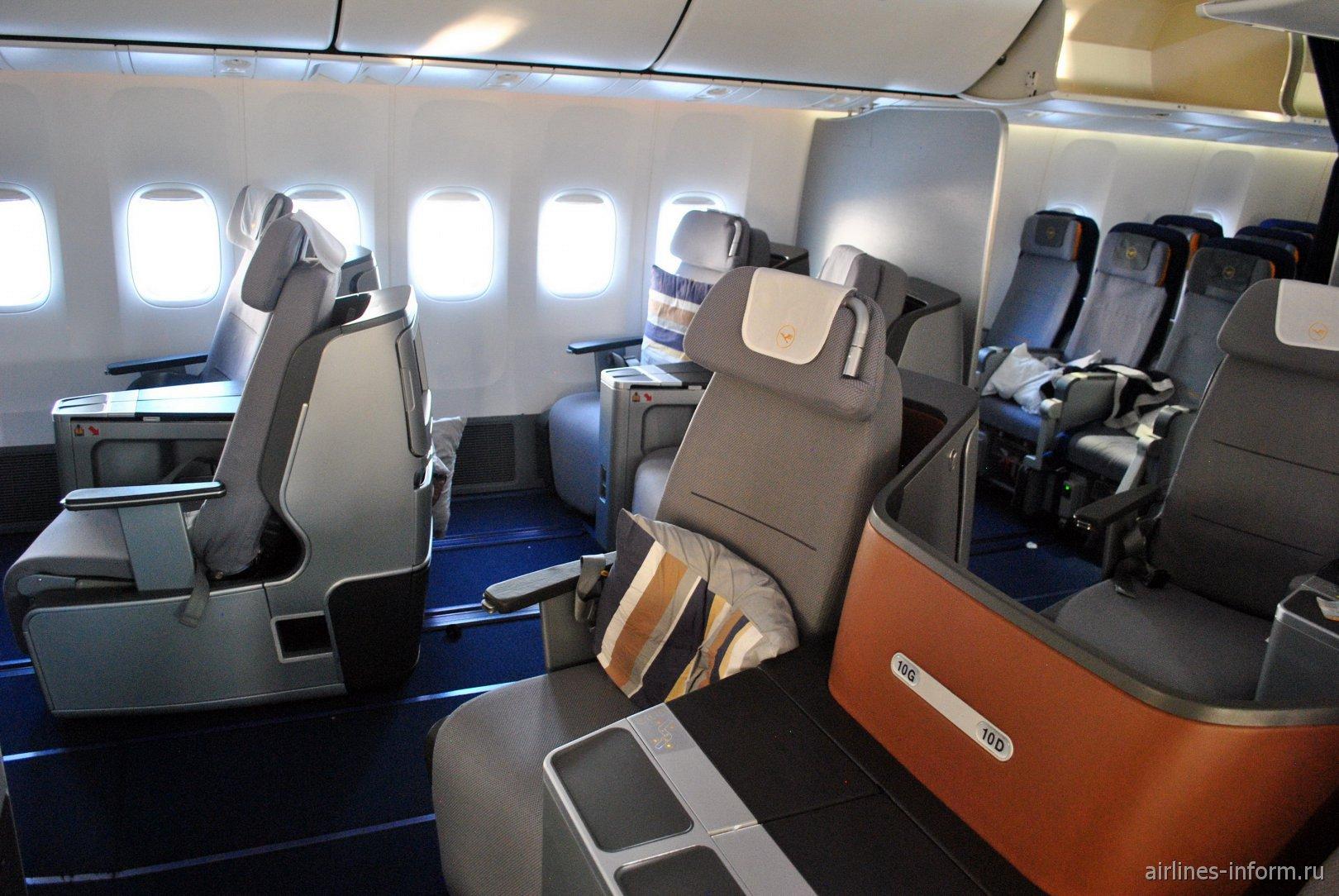 Бизнес-класс в Боинге-747-8 авиакомпании Lufthansa