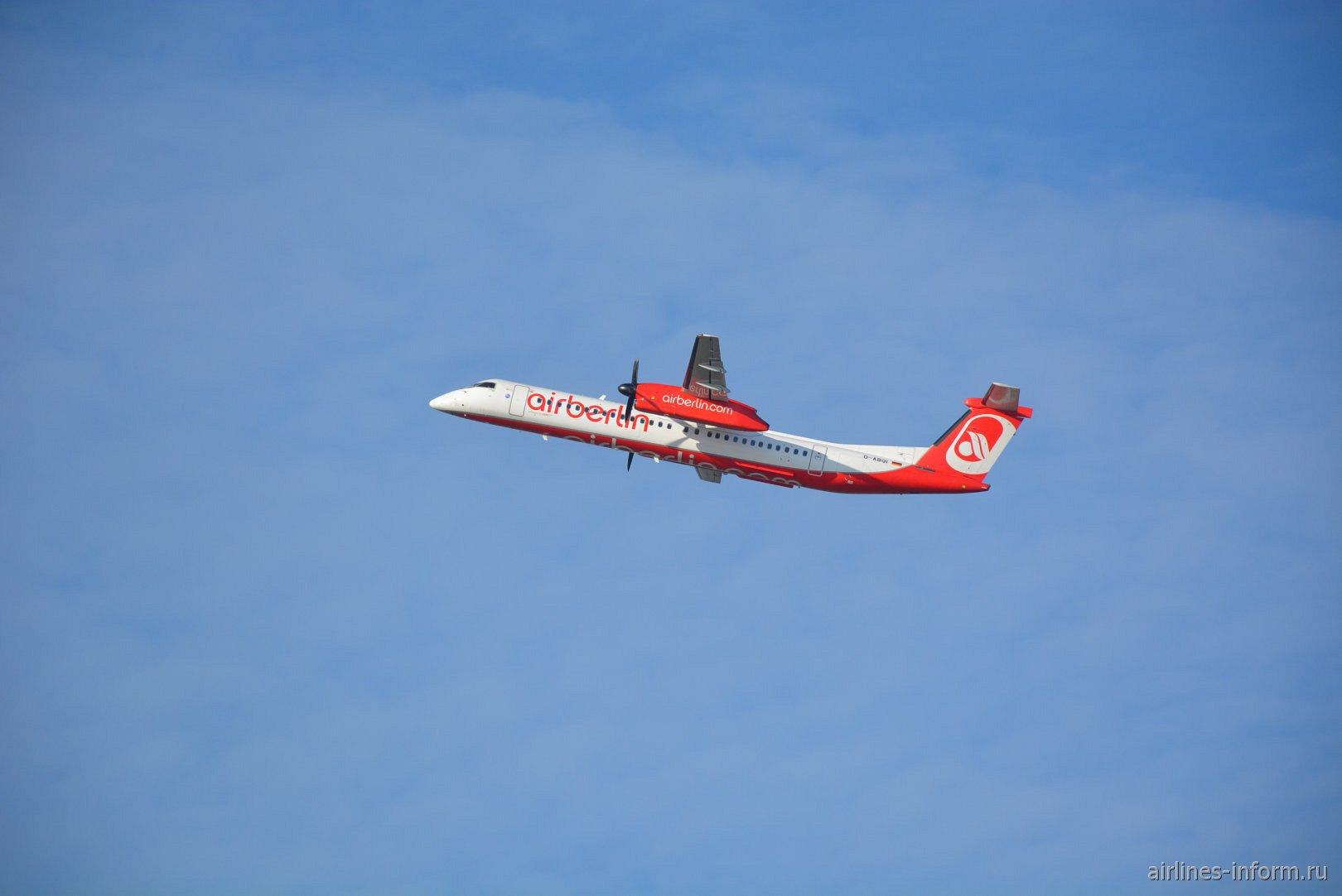 Взлет Bombardier Dash 8 Q400 D-ABQI авиакомпании LGW