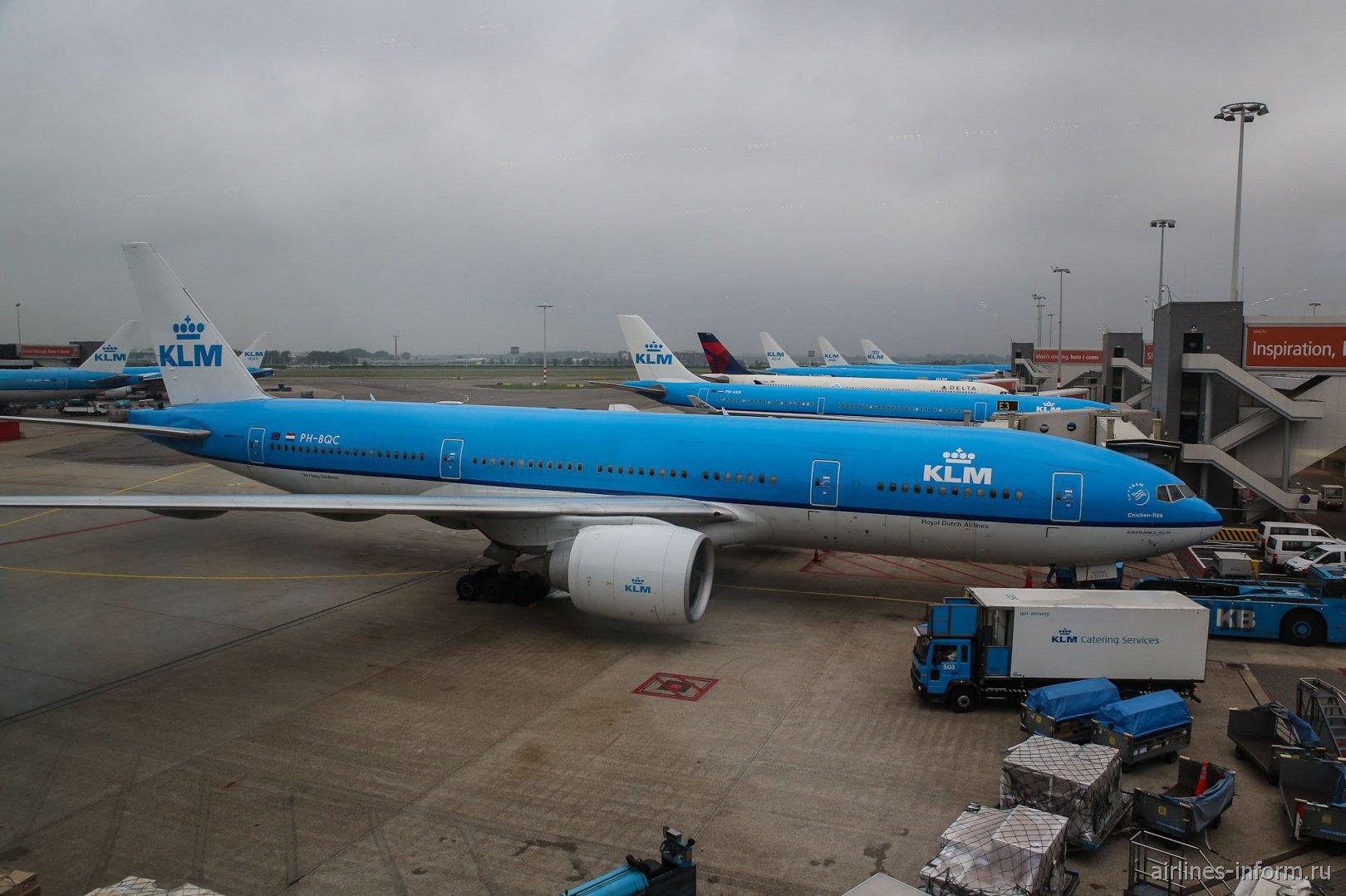 Самолеты авиакомпании KLM в аэропорту Амстердам Схипхол